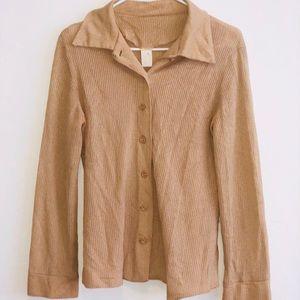 Vintage Knit Button Up Blouse Sweater